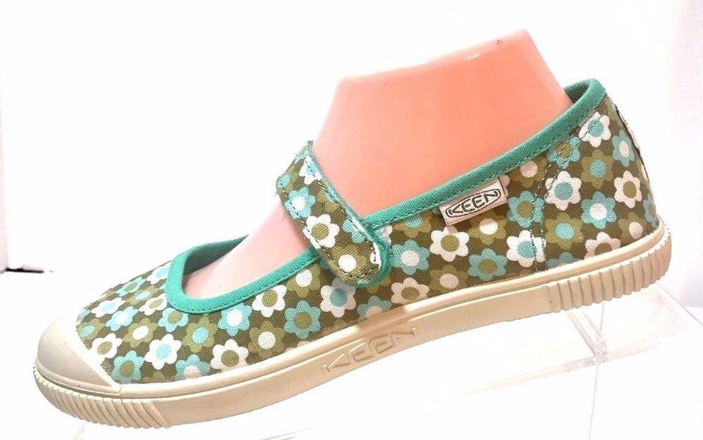 8db6257b6d00 100% Vulcanized Footwear. Cute KEEN Mary Janes. Hook and Loop Fastener on  Strap. Size US 5 (EU 38). Blue Floral Pattern.   eBay!
