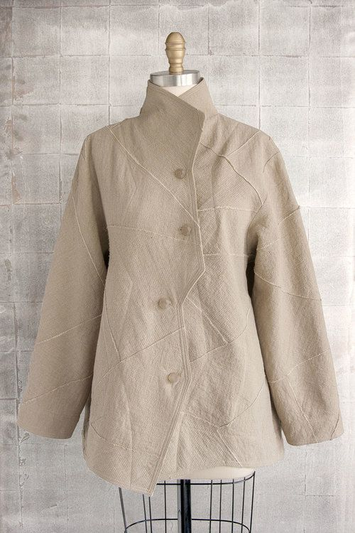 Long Zig-Zag Jacket in Raw-Pieced Linen. Great looking! | LOUISE ...