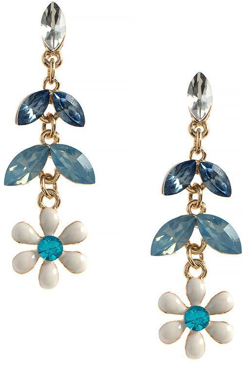 CRYSTAL ACCENT FLORAL DROP EARRINGS