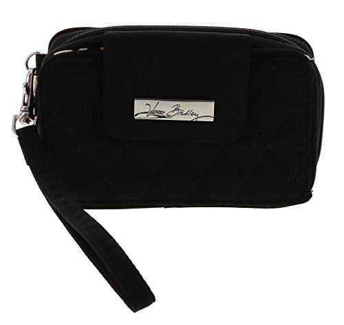 Vera Bradley Smartphone Wristlet Wallet in Classic Black. Wristlet has two compartments.  Front compartment has front flap snap closure; Second has zip around closure. Front is open slip compartment with flap snap closure; Second features 4 credit card slots, 1 clear ID slot, 1 zip pocket, and 1 bill slot. Removable wristlet has a drop of approx 5.25 inches. Quilted fabric; Silver toned hardware; Vera Bradley engraved name plate on front. Approx. Dimensions: 5.5 in L x 3.25 in H x 1.5 in W.