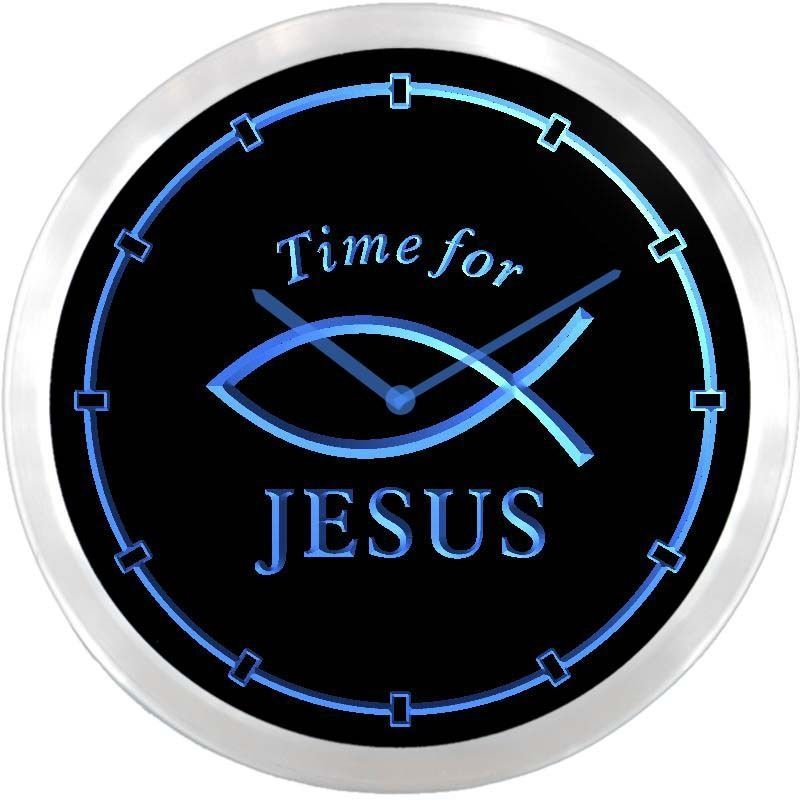 Nc0983 B Time For Jesus Fish Neon Sign Led Wall Clock Advproclock With Images Led Wall Clock Clocks For Sale Wall Clock