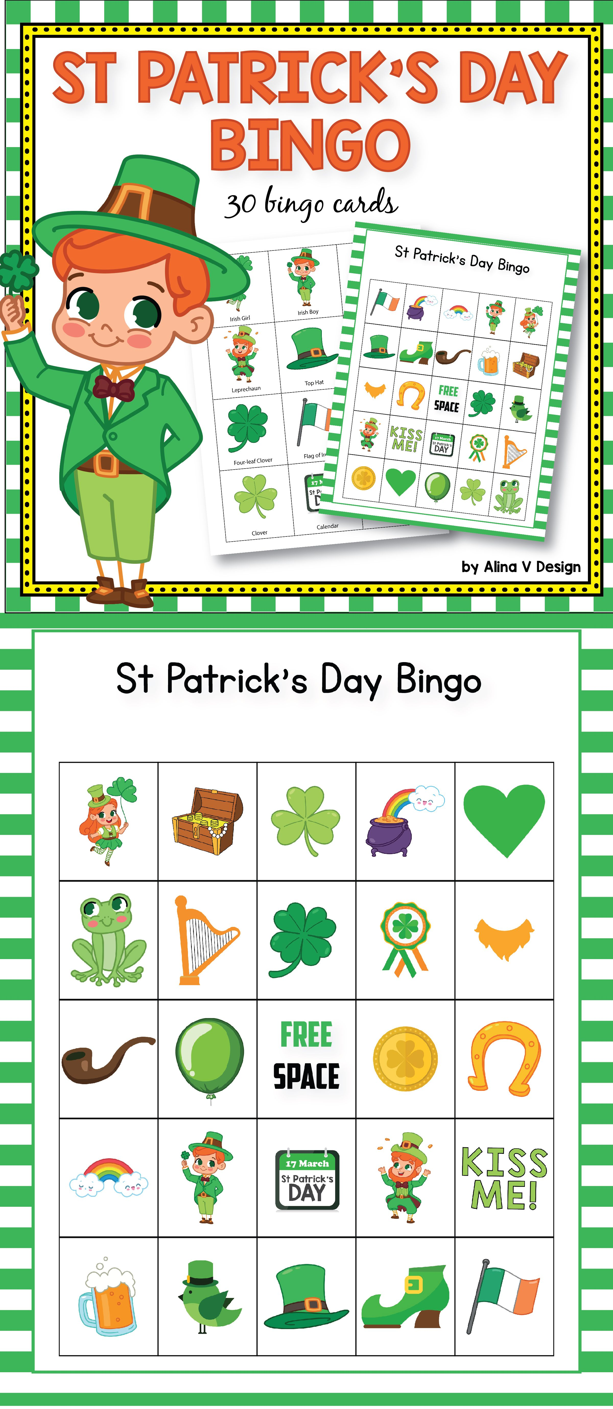 image about St Patrick's Day Bingo Printable titled St Patricks Working day Bingo Video game - St Patricks Working day Actions for
