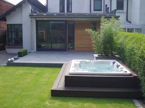 Contemporary City Garden New Hot Tub Patio Hot Tub Backyard