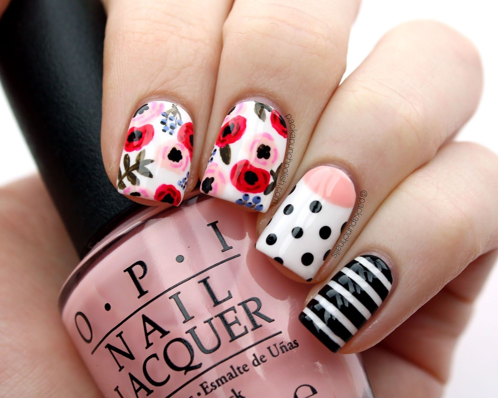 Packapunchpolish floral mix match nail art my nail art packapunchpolish floral mix match nail art prinsesfo Image collections