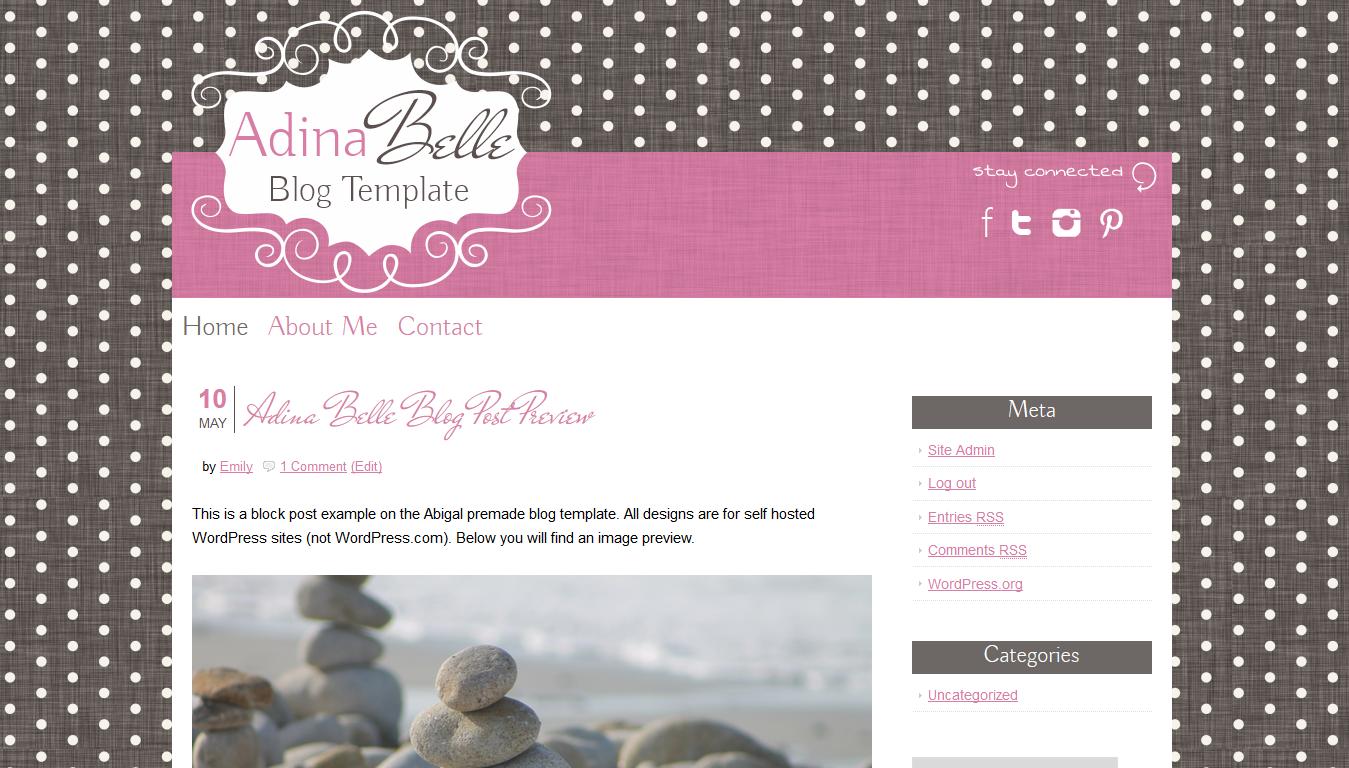Adina Belle Premade WordPress Theme | Wordpress, Template and ...