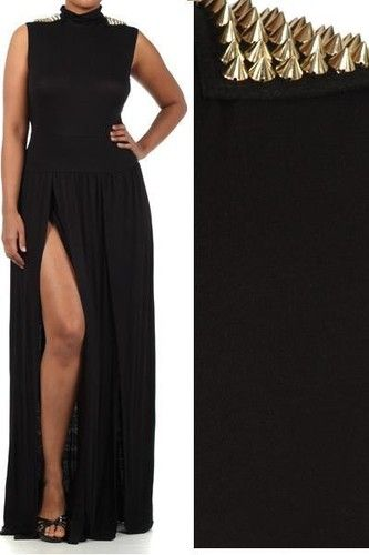 Plus Size Black Spike Studded Shoulder Maxi Dress Double Slit Long