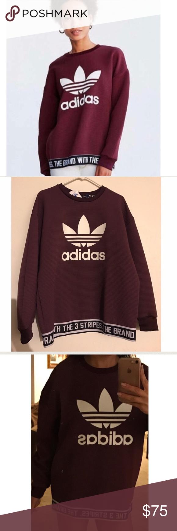 736554f2b Nwt Adidas women s oversize Sweater top Medium This is a new Adidas women s  oversize Sweater. Size Medium. Color burgundy . Has the large Adidas logo  on ...