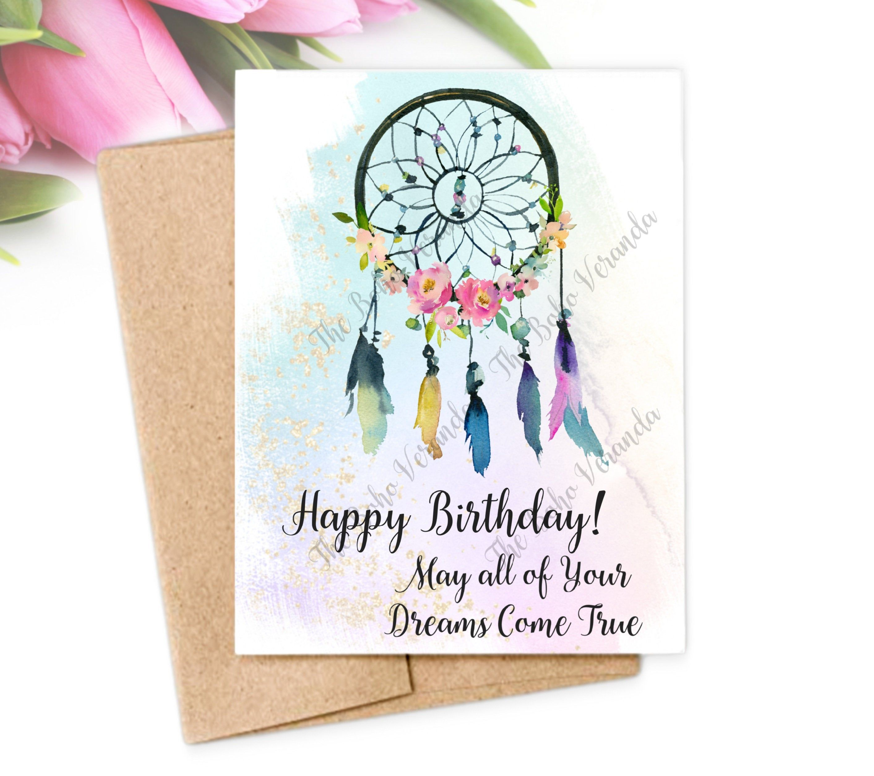 Birthday Card Printable Card Instant Download Boho Etsy In 2021 Birthday Card Printable Printable Cards Birthday Cards