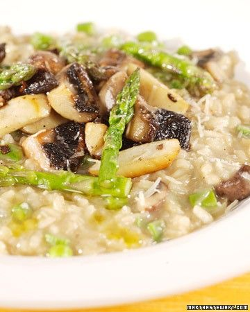 This spring risotto showcases fresh asparagus and earthy mushrooms (such as oyster, cremini, or shiitake). Using a small amount of dried porcinis enhances the mushroom flavor.