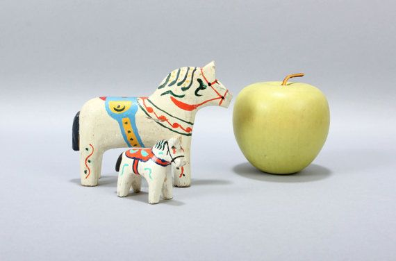 Tiny Pair of Vintage White Dala Horses Rustic 4 inch by ThePapers