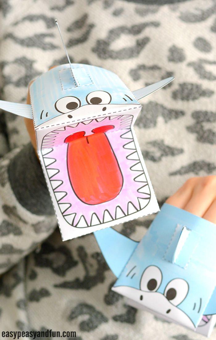 Shark Puppet Printable Template | Handarbeid kerst groep 4 ...