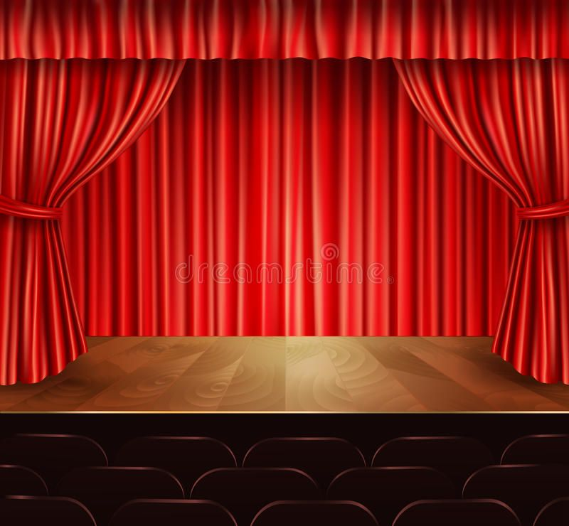 Photo About Theater Stage With Seats Red Velvet Open Retro Style