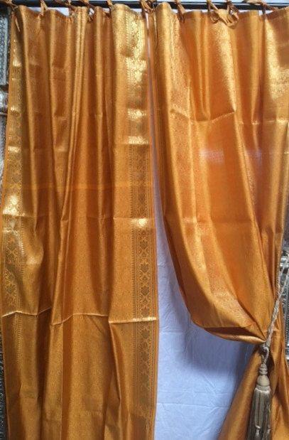 Yellow Gold Sari Raj Curtain Window Curtain Panels Window