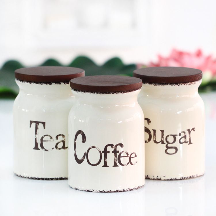 Three Piece Ceramic Canister Set With Wooden Lid Sealed Cans Tea Coffee Sugar