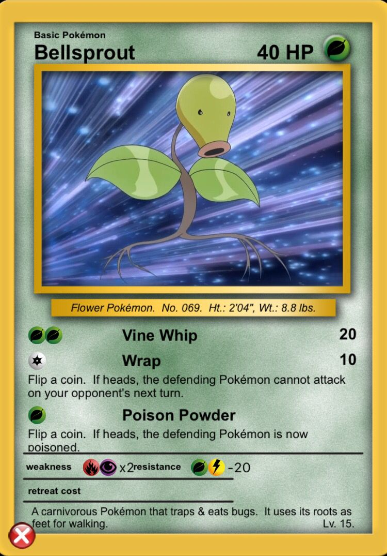 Bellsprout pokemon cards pokemon vine whip
