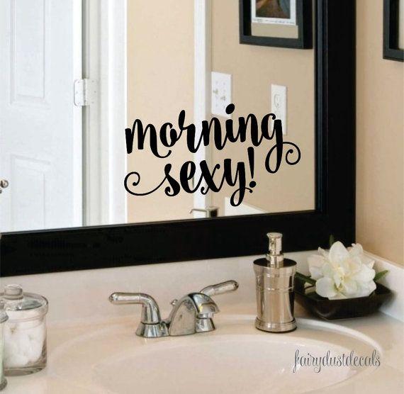 morning sexy decal bathroom mirror decoration vinyl lettering for home laptop wall mirror fun flirty script