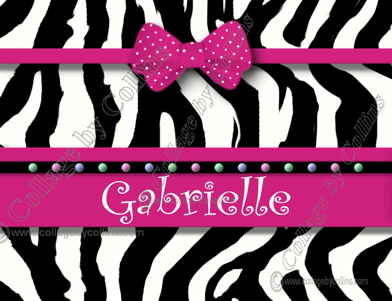 Personalized Hot Pink Poster Print Zebra Wall Art Decor