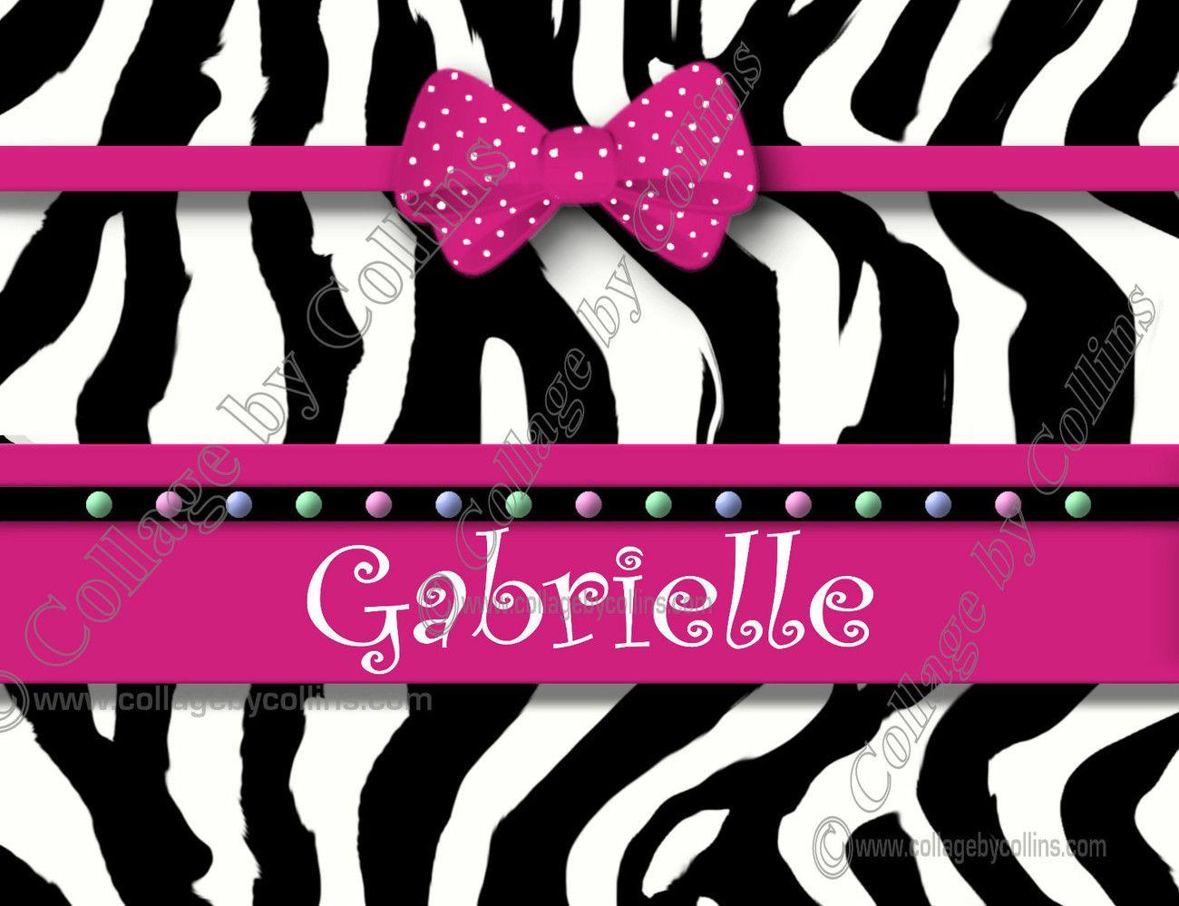 Personalized Hot Pink Poster Print Zebra Wall Art Decor