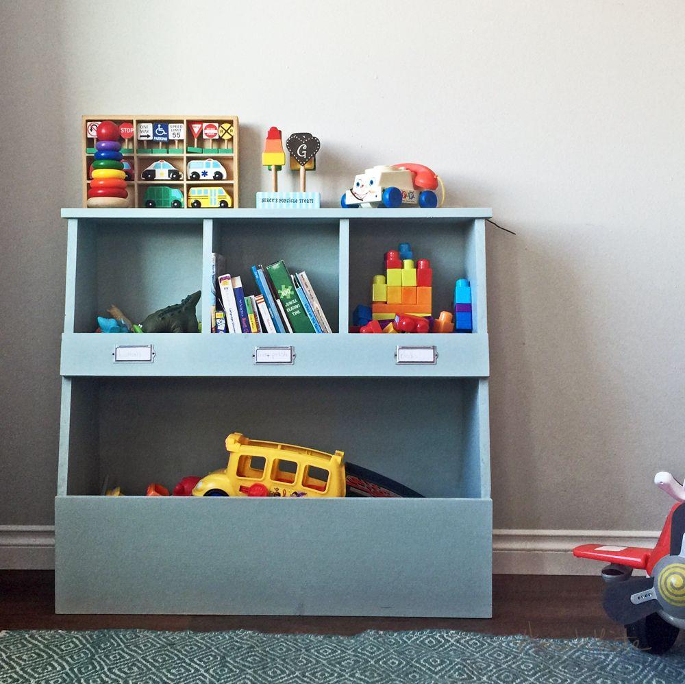 toy storage bin box with cubby shelves ana white