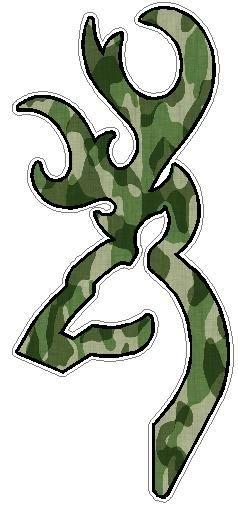 Browning Deer Head Logo Deer Head Fills Green Camo Hunting