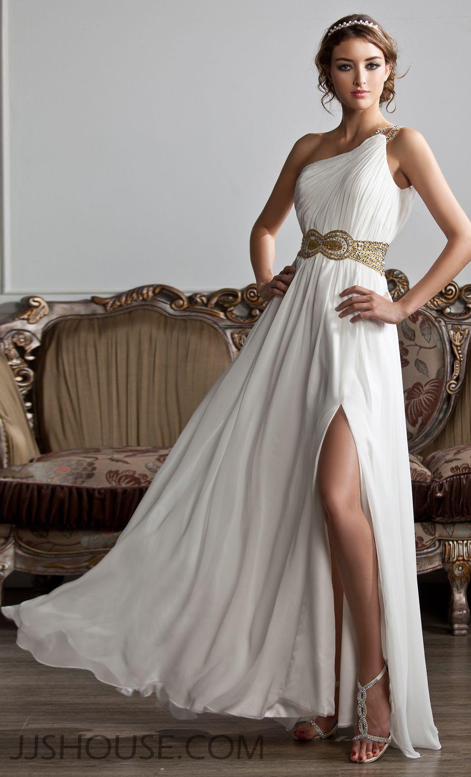 Alineprincess oneshoulder floorlength chiffon prom dresses with