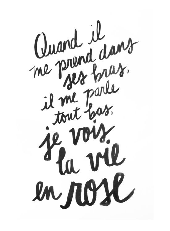 La vie en rose (lyrics) Art Print French Wallpaper, Rose