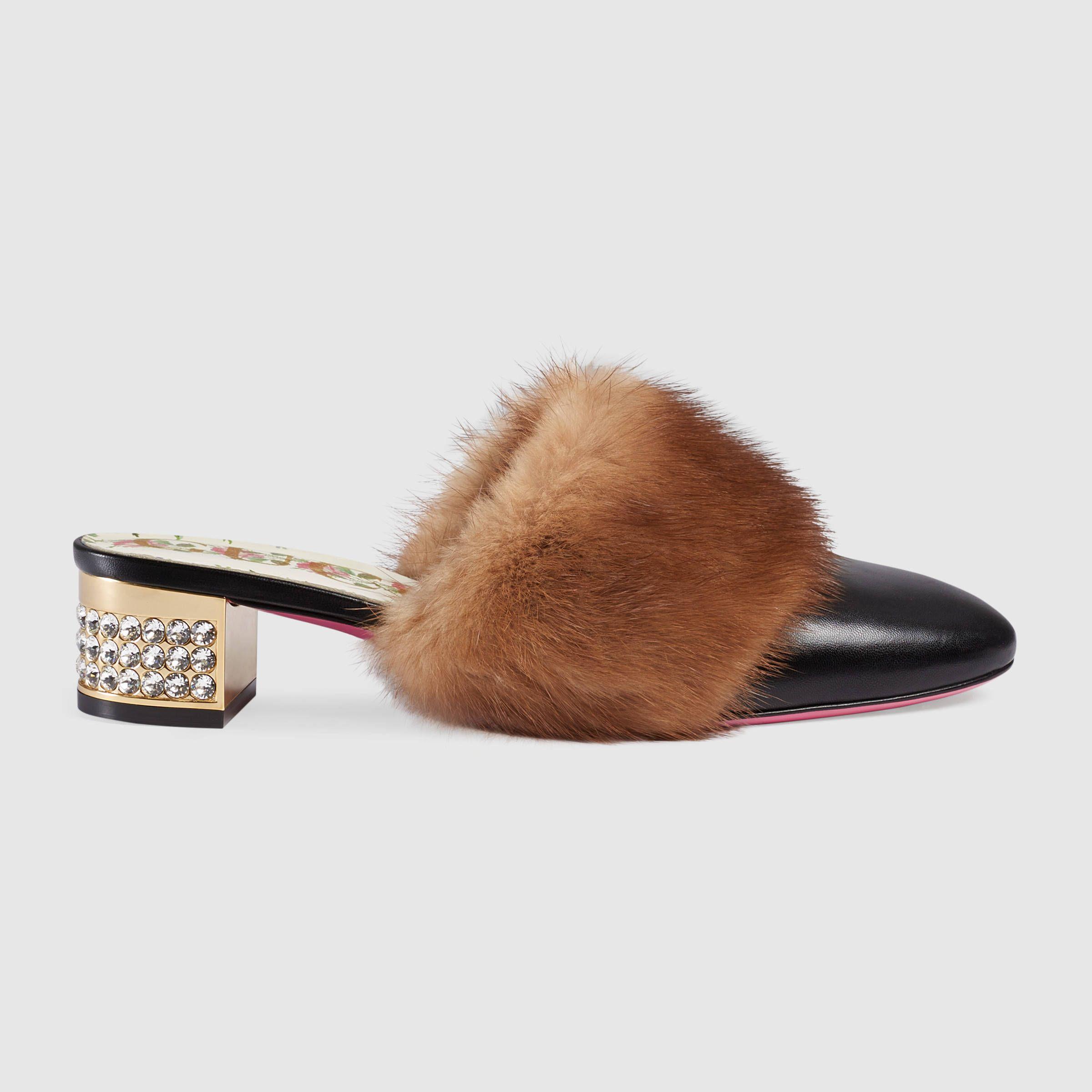 Gucci Black Mink Slippers TLw2aLtt