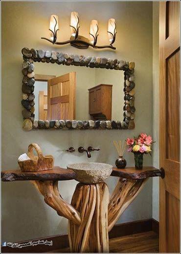 ابداع من اغصان الشجر Log Home Bathrooms Home Decor Decor