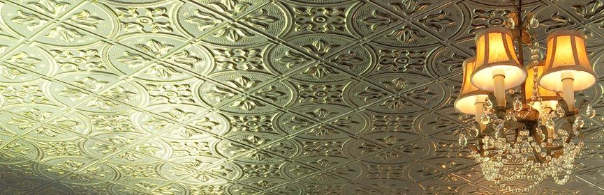 These thermoplastic ceiling tiles look like tin tiles on a ceiling ...