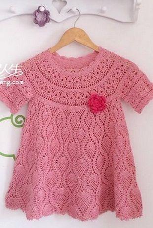 Схема платья для девочки   Вязание крючком для детей   Pinterest ...