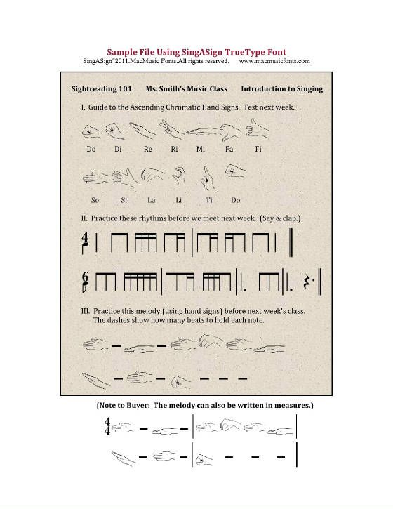 Music font to write stick notation and hand signs