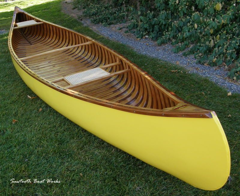 yellow wood canvas canoe for sale wood and canvas canoe