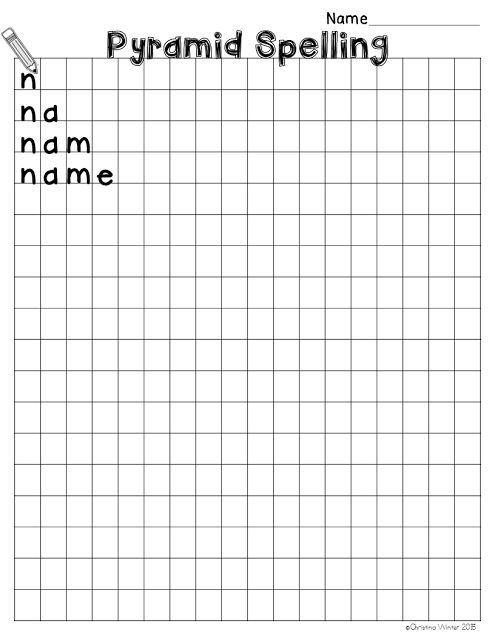 Spelling Activities {a Freebie} - Pyramid Speeling printable sheet