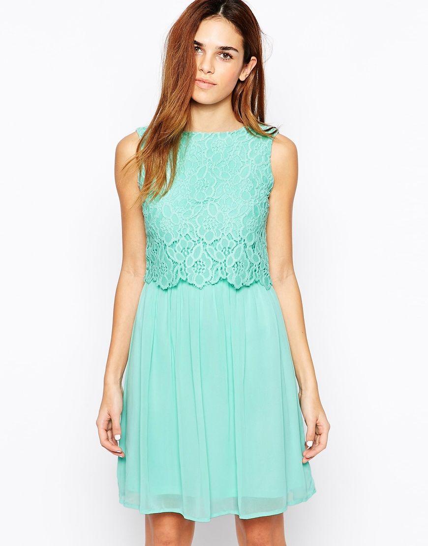 Pastel lace overlay dress
