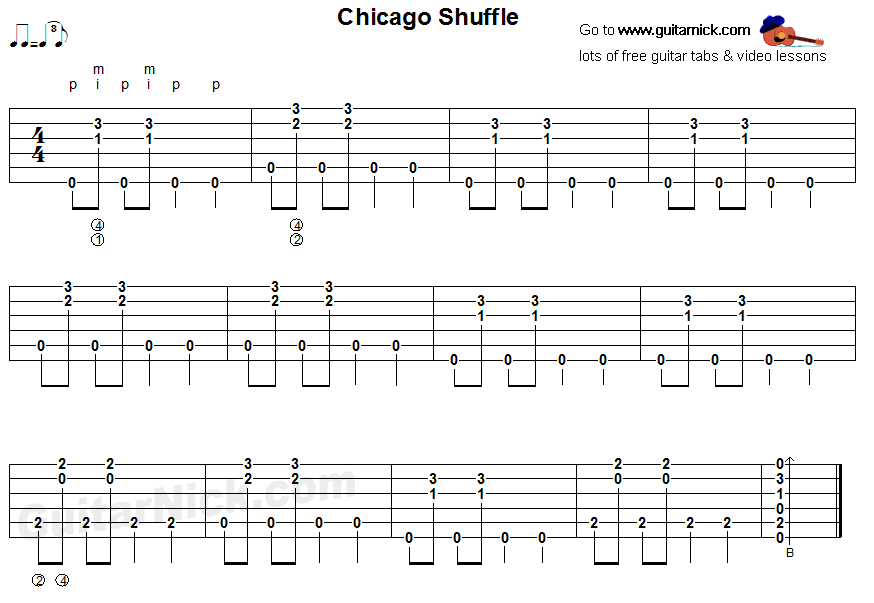 Chicago Shuffle Fingerstyle Guitar Blues Tab