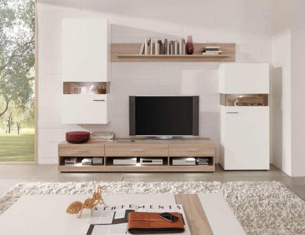 Nelson Wohnwand II Eiche weiss matt #living #wohnzimmer - wohnzimmermöbel weiß landhaus