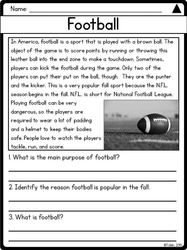 Fall Reading Comprehension Passages And Questions 2nd