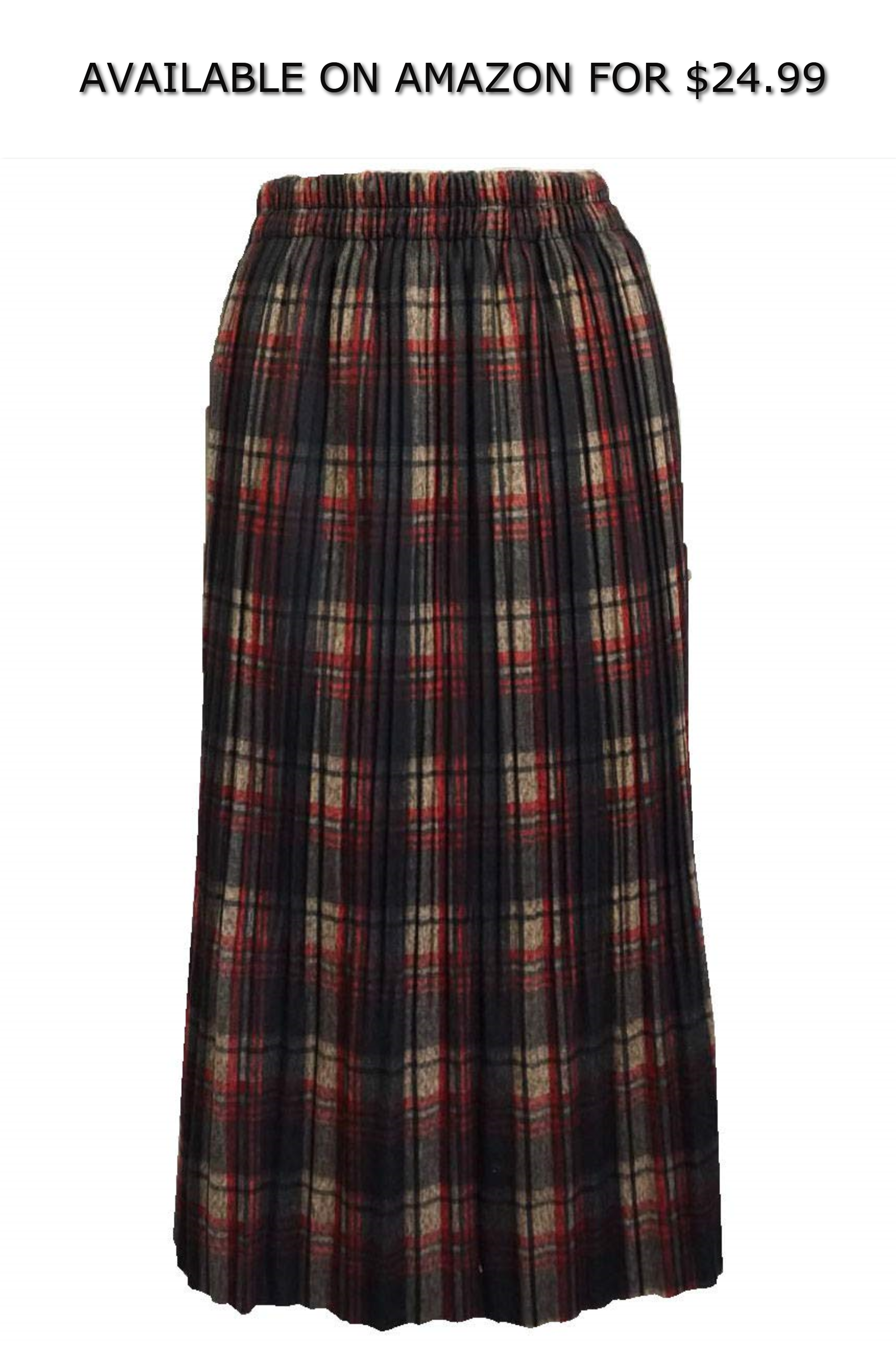 eaff5d1592 SEOULSTORY7 Women s Winter Long Plaid Flared Skirt W Elastic Waist Band ◇  AVAILABLE ON AMAZON FOR   24.99 ◇ Material Acrylic