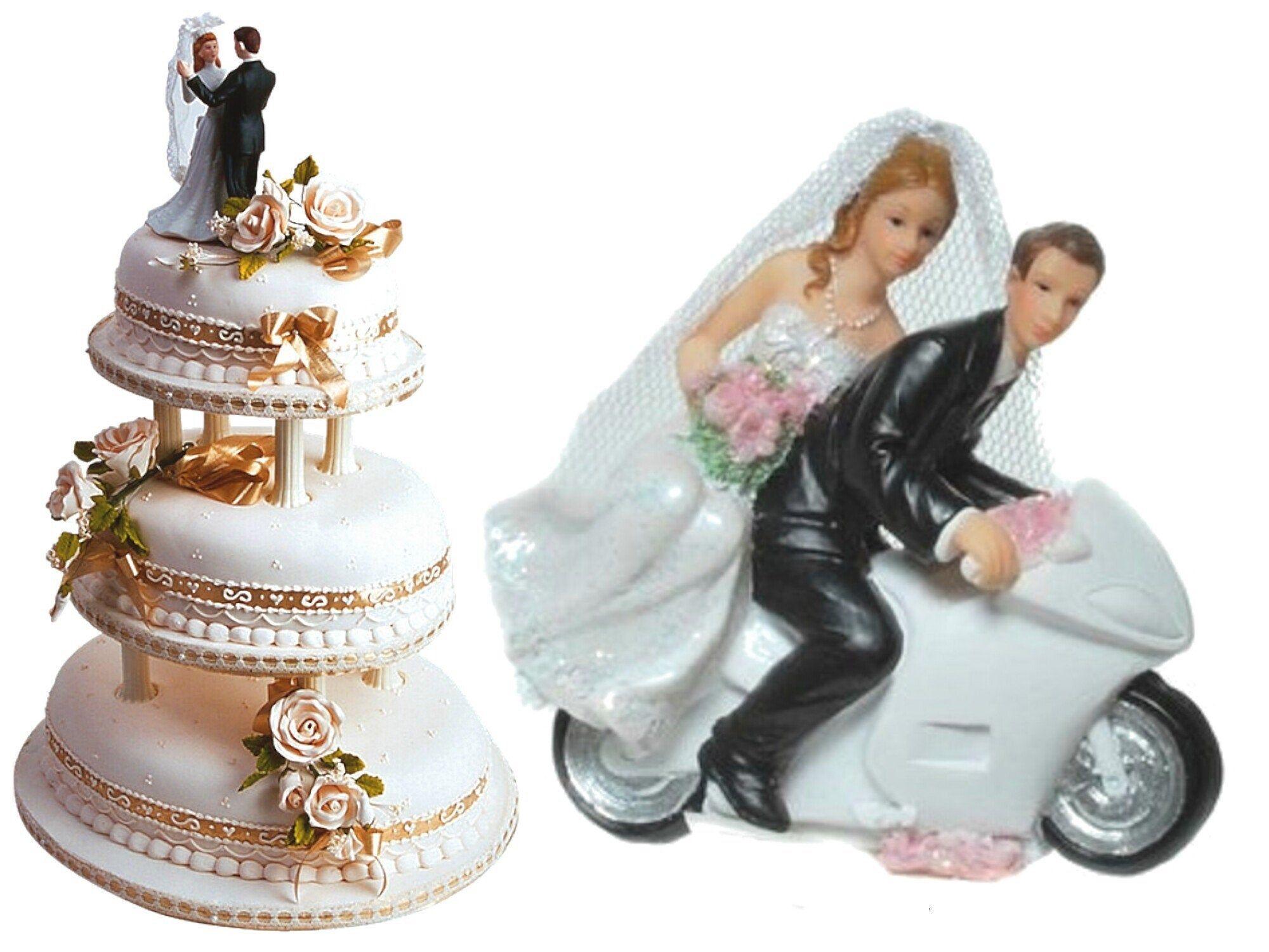 Deko Figur Zur Hochzeit Brautpaar Auf Motorrad In 2020 Snow Globes