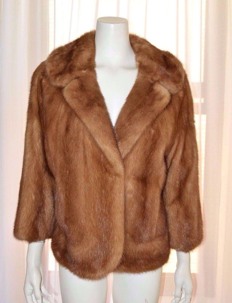 41f170d89 Vintage Genuine Natural Light Brown Mink Coat Jacket Medium M Bolero ...
