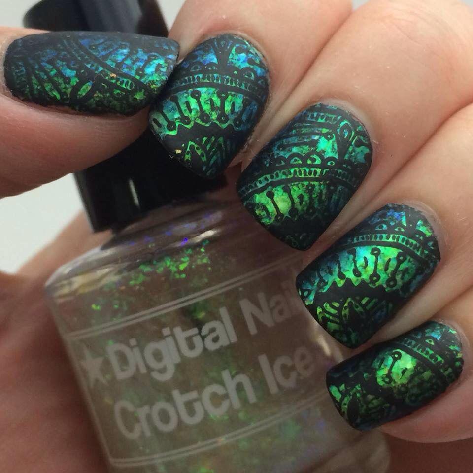 Uberchic stamping over green flakies, plus matte topcoat | Nail art ...