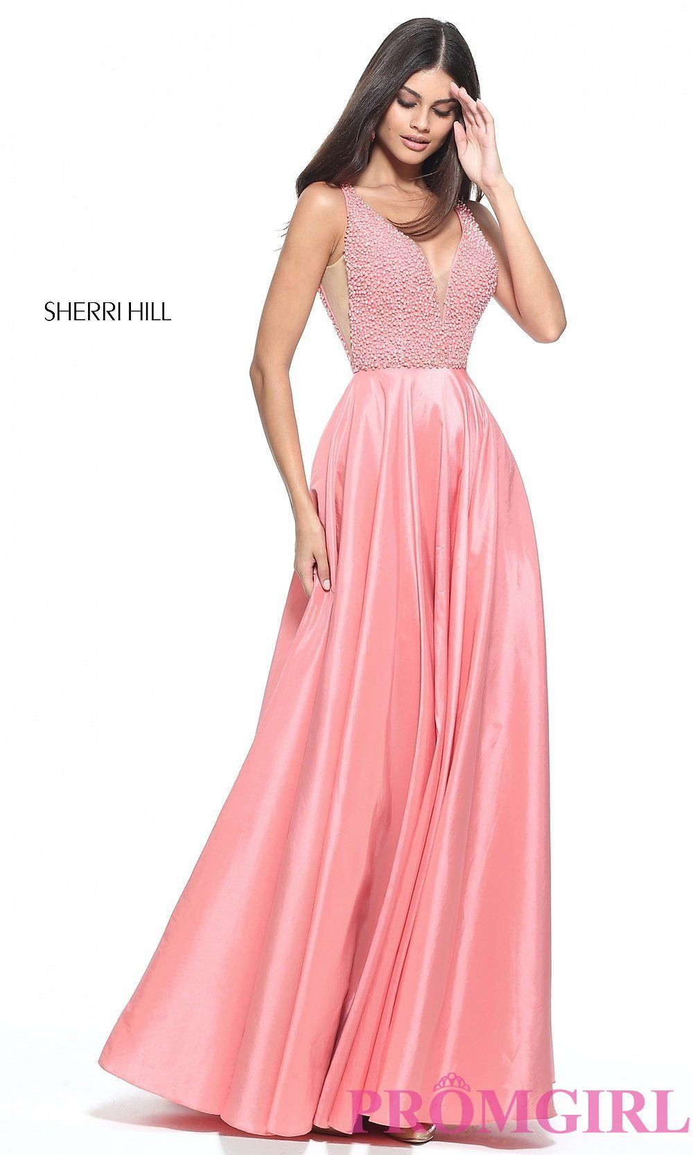 Long vneck openvback sherri hill prom dress prom pinterest