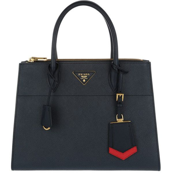 Prada Handle Bag - City C Tote Saffiano Baltico Rosso - in blue -... (£1,885) ❤ liked on Polyvore featuring bags, handbags, tote bags, blue, genuine leather tote, leather tote handbags, prada handbags, blue leather handbags and blue totes