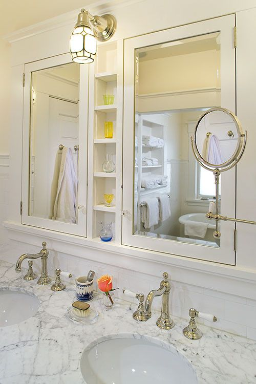 Like The Mirrored Medicine Cabinet On The Left Side Wall Large Framed Mirror Over Sinks Recessed Medicine Cabinet Victorian Bathroom Bathroom Design