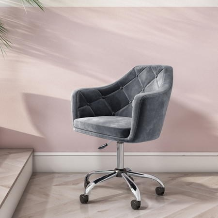 Marley Grey Velvet Office Swivel Chair With Button Back 129 In 2020 Grey Desk Chair Modern Office Chair Office Chair Makeover
