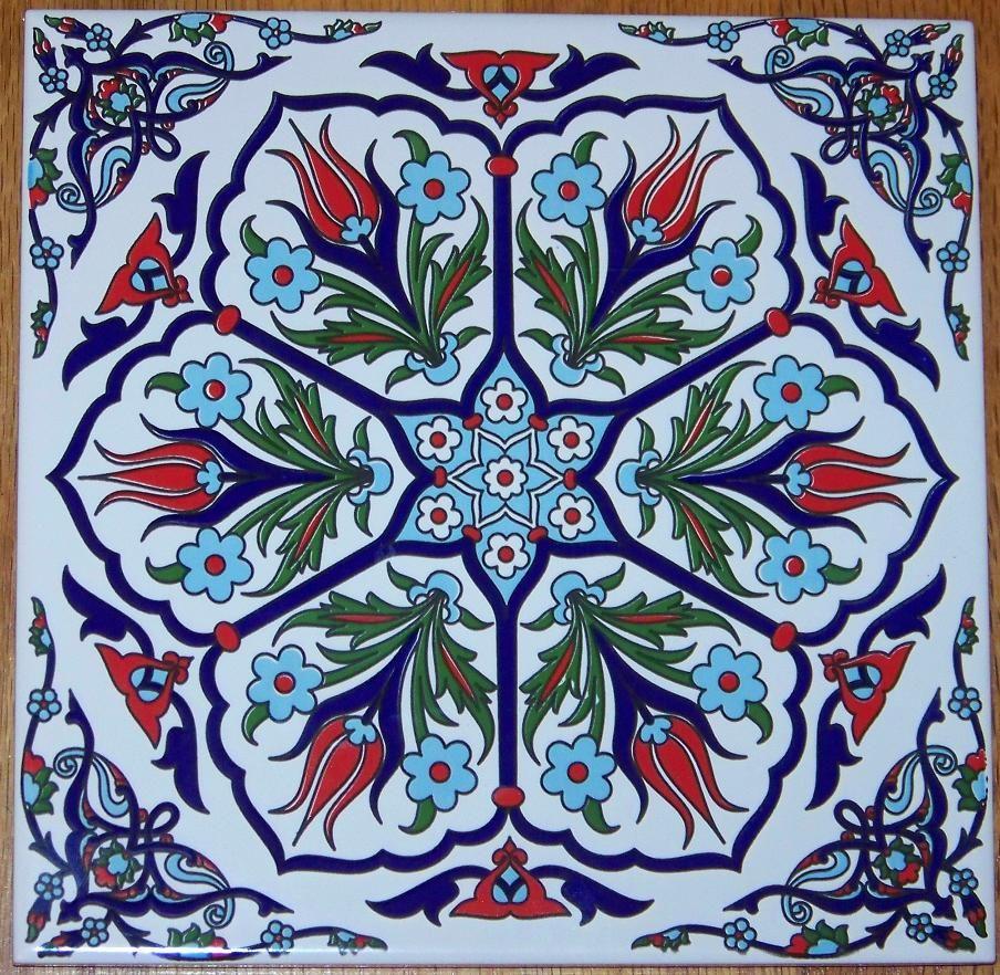 Ottoman iznik 6 tulip design 8x8 20cm turkish ceramic tile ottoman iznik 6 tulip design 8x8 20cm turkish ceramic tile trivet hot plate dailygadgetfo Choice Image