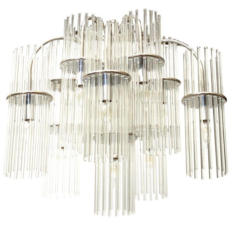Lightolier Ring Chandelier At 1stdibs: Gaetano Sciolari For Lightolier Glass And