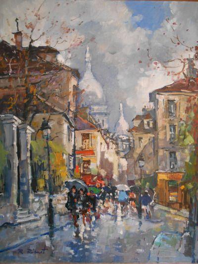 Rue Norvins Et Le Sacre Coeur Montmartre Paris Robert Ricart