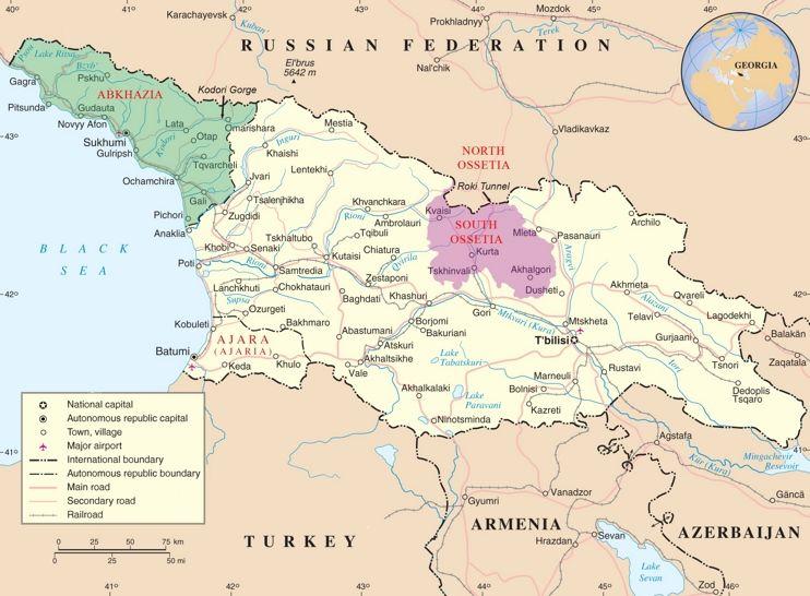 Abkhazia and South Ossetia on the map of Georgia Maps Pinterest