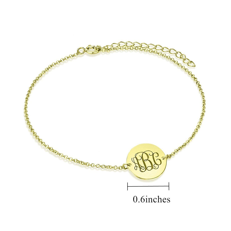 Personalized monogram ankle bracelet women gold sterling silver